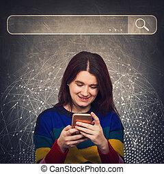útil, motores, modernos, procurar, smartphone, curioso, loupe, tecnologia, achar, informação, data., networking, rede, concept., virtual, internet, vida, mulher, usando, busca, barzinhos, percorrendo