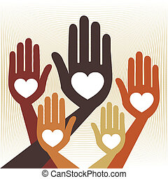 útil, unidas, mãos, vector.