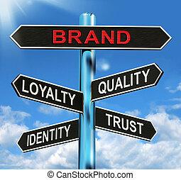 útjelző tábla, bélyegez lojalitás, tröszt, minőség, ...