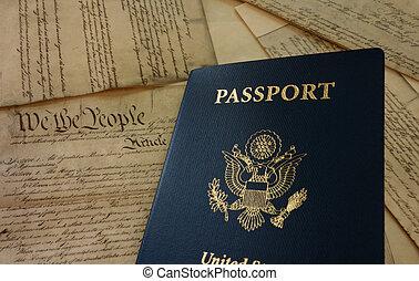 útlevél, és, alkotmány