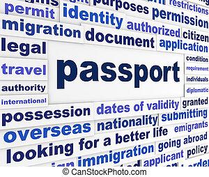 útlevél, jogi, szavak, fogalom