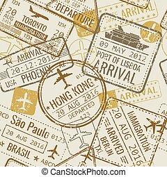 útlevél, szüret, utazás, seamless, topog, vektor, háttér, vízum