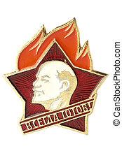 úttörő, öreg, szovjetúnió, jelvény