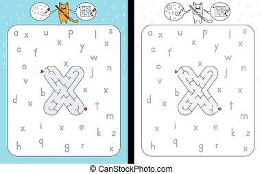 útvesztő, levél x