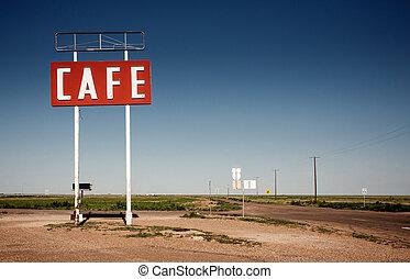 útvonal, aláír, történelmi, 66, mentén, kávéház