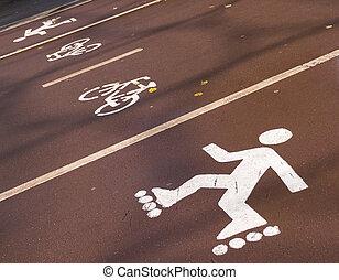 útvonal, futás, bicikli, rollersat, stadion