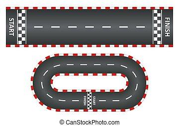 útvonal, kilátás, befejez, közútak, elindít, versenyzés, vektor, megtölt., állhatatos, tető, aszfalt, kart, faj