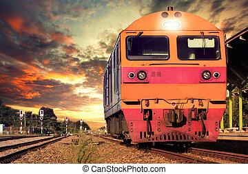 útvonal, vasutak, kíséret, vasutak, emelvény, állomás,...