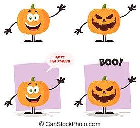 übel, halloweenkuerbis, karikatur, emoji, zeichen, wohnung, design, satz, 1., sammlung