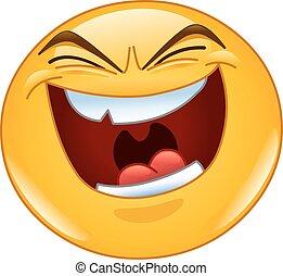übel, lachen, emoticon