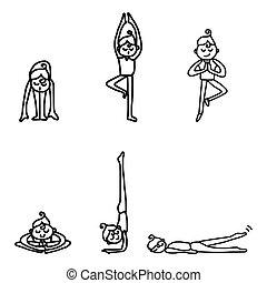 üben, frau, joga
