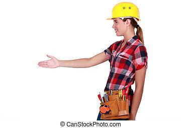 über, arbeiter, baugewerbe, weibliche , schütteln, hands.