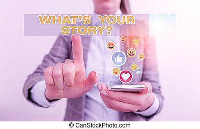 über, demonstrieren, geschaeftswelt, schreibende, hand, vergangenheit, begrifflich, dein, text, events., leben, s, storyquestion., foto, fragen, analysisner, ausstellung, was