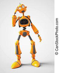 über, denken, roboter, gelber , something., karikatur