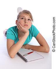 über, denken, schule, verwirrt, mathe, m�dchen, hausaufgabe