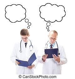 über, denken, zwei, etwas, doktoren, mann