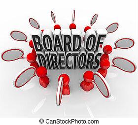 über, geschäftsführung , richtung, diskussion, leute, oberseite, sprechende , direktoren, führung, vortrag halten , brett, organisation, blasen, objektive, versammlung, company's, ziele