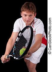über, kugel, tennis serve, junger, spieler, porträt, mann