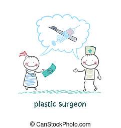 über, sagt, geld, plastik, schauen, patient, betrieb, chirurg