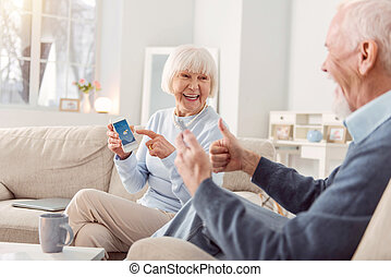 über, wesen, paar, senioren, prognose, angenehmes wetter, glücklich, nett