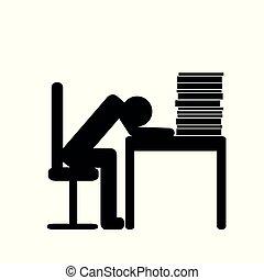 überarbeitet, person, in, büro, piktogramm