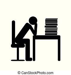 überarbeiteter mann, in, büro, piktogramm