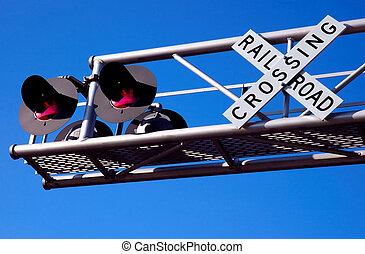 überfahrt, eisenbahn, oben, signal