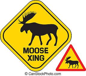 überfahrt, elch, straße zeichen