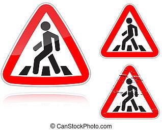 überfahrt, fußgänger, unregulated, nähern