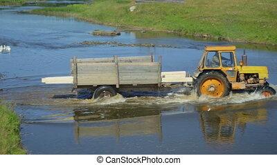 überfahrt, traktor, fluß