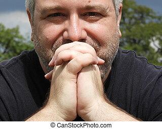 übergewichtige , beten, mann