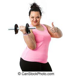 übergewichtige , fitness, m�dchen, machen, daumen, auf.