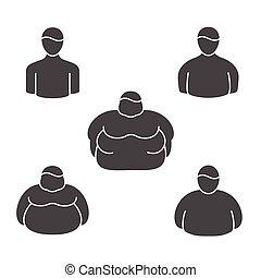 übergewichtige , klassifizierung, heiligenbilder, leute.,...