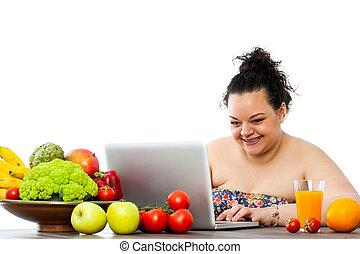 übergewichtige , m�dchen, beraten, diät, auf, laptop.