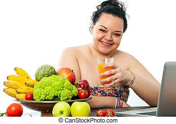 übergewichtige , m�dchen, mit, organische , essen.