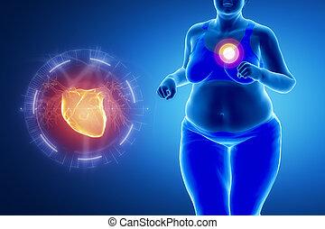 übergewichtige , problem, frau, dicker , herz