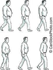 übergewichtige , satz, morphing, anfall, sammlung, mann