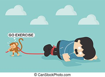übergewichtige , zwingen, affe, leute, übung, erschöpfung, übung