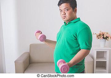 übergewichtiger mann, machen, übung, hause, hebend, a, hantel, hause