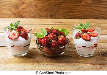Joghurt Nachtisch Fruechte Uberlagert Joghurt Nachtisch