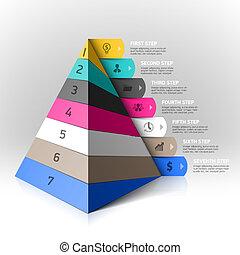 überlagert, pyramide, schritte, element