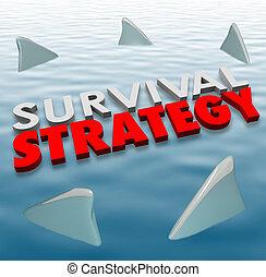 überleben, strategie, gefahr, hai, flossen, plan, problem,...
