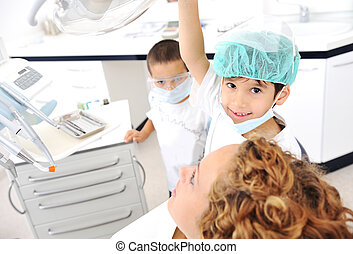 überprüfung, reihe, verwandt, fotos, zahnarztes, z�hne, kind