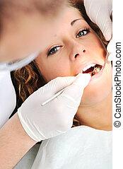 überprüfung, reihe, verwandt, fotos, zahnarztes, z�hne