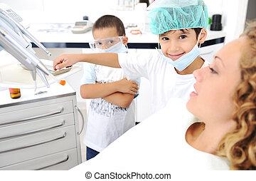 überprüfung, reihe, z�hne, verwandt, fotos, zahnarztes, kind