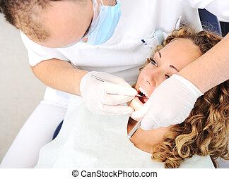 überprüfung, z�hne, zahnarztes