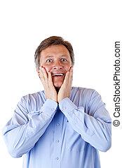 überrascht, glücklich, news., über, hübsch, pensionist