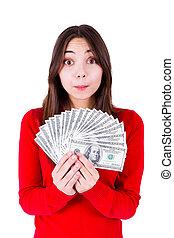 überrascht, teenager, mit, geld