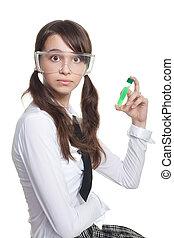 überrascht, teenager, mit, reagenzglas