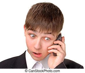 überrascht, teenager, mit, telefon
